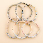 Wholesale semi precious beaded Fierce letter stretch bracelet diameter unstretch