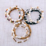 Wholesale pearl beaded star stretch bracelet set three diameter Fits up wrist