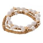 Wholesale pearl beaded star stretch bracelet set three diameter Fits up wrist