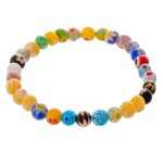 Wholesale multicolor Semi Precious Flower Beaded Stretch Bracelet diameter Fits