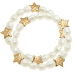 Wholesale ivory Pearl Beaded Star Stretch Bracelet Diameter