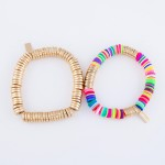 Wholesale multicolor Polymer Clay Spacer Beaded Stretch Bracelet Gold Polymer cl