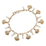 Wholesale worn Gold Seashell Pearl Charm Bracelet Adjustable Lobster Clasp diame