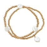 Wholesale worn Gold Sphere Beaded Pearl Stretch Bracelet Set pcs set diameter un