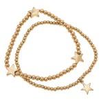 Wholesale worn Gold Sphere Beaded Star Stretch Bracelet Set pcs set diameter uns