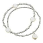 Wholesale worn Silver Sphere Beaded Pearl Stretch Bracelet Set pcs set diameter