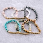 Wholesale semi precious beaded Blessed engraved stretch bracelet diameter unstre