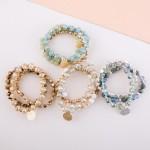 Wholesale semi precious faceted beaded charm stretch bracelet set pcs pack diame