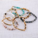 Wholesale semi precious beaded Good Vibes engraved stretch bracelet diameter uns