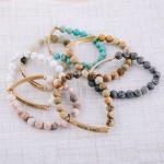 Wholesale semi precious beaded Good Vibes engraved stretch bracelet diameter uns