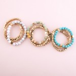 Wholesale semi precious gold beaded stretch bracelet set pcs pack diameter unstr