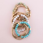 Wholesale semi precious gold beaded stretch bracelet set pcs pack diameter unstr