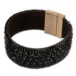 Wholesale faux leather rhinestone cluster magnetic bracelet Magnetic closure dia