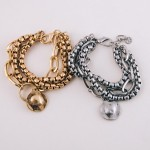 Wholesale chunky box chain link hammered charm bracelet Lobster clasp Adjustable