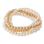 Wholesale pearl Beaded Stackable Stretch Bracelet Set Worn Gold pcs set diameter