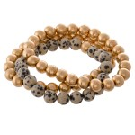 Wholesale natural Stone CCB Beaded Stacking Stretch Bracelet Set pcs set diamete