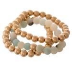 Wholesale natural Stone CCB Beaded Stacking Stretch Bracelet Set pcs set diamete