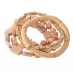 Wholesale semi Precious Block Beaded Stackable Stretch Bracelet Set pcs set diam