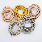 Wholesale semi Precious Block Beaded Stackable Stretch Bracelet Set pcs set diam