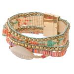 Wholesale multi beaded loom puka shell cord magnetic bracelet Magnetic closure d