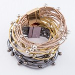 Wholesale faux Leather Multi Strand Magnetic Bracelet Ball Bead Details Magnetic