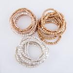 Wholesale block Beaded Stacking Stretch Bracelet Set Worn Gold pcs set mm mm mm