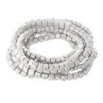 Wholesale block Beaded Stacking Stretch Bracelet Set Worn Silver pcs set mm mm m