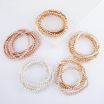 Wholesale two Beaded Ball Stacking Bracelet Set pcs set mm Bead diameter Fits up