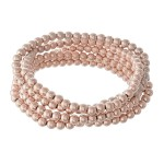 Wholesale beaded Ball Stacking Bracelet Set Worn Rose Gold pcs set mm Bead diame