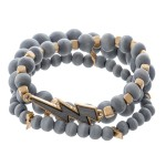 Wholesale wood beaded lightning bolt stretch bracelet set pcs set diameter Fits