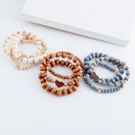 Wholesale wood beaded heart stretch bracelet set pcs set diameter Fits up wrist