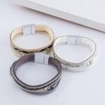 Wholesale pearl beaded faux leather snakeskin magnetic bracelet rhinestone detai