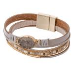Wholesale druzy faux leather color block magnetic bracelet thread wrapped accent