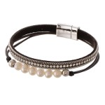 Wholesale pearl beaded rhinestone cord magnetic bracelet Magnetic closure diamet