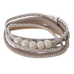 Wholesale faux leather pearl beaded rhinestone snakeskin magnetic wrap bracelet