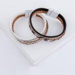 Wholesale braided faux leather rhinestone magnetic bracelet Magnetic closure dia
