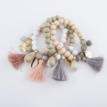 Wholesale wood Beaded Natural Stone Tassel Charm Stretch Bracelet diameter Fits