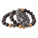 Wholesale two Wood Beaded CCB Stretch Bracelet Set pcs set diameter Fits up wris