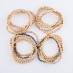 Wholesale metal Star Beaded Stretch Bracelet Set Faceted Details pcs set diamete