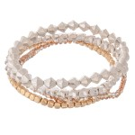 Wholesale metal Star Beaded Stretch Bracelet Set Faceted Details pcs set diamete
