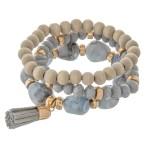 Wholesale natural stone glass beaded stretch bracelet set raffia tassel pcs set