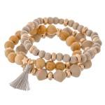 Wholesale semi precious wood beaded star stretch bracelet set tassel pcs set dia