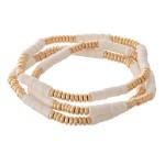 Wholesale heishi Rondelle Beaded Boho Stretch Bracelet Set pcs set diameter unst