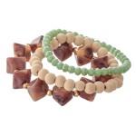 Wholesale natural Stone Wood Beaded Stretch Bracelet Set Mint Faceted Details pc