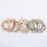 Wholesale semi Precious Beaded Lightning Bolt Charm Stretch Bracelet Set Gold pc
