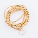Wholesale gold Ball Beaded Stretch Bracelet Set Crystal Clear Charm pcs set Bead
