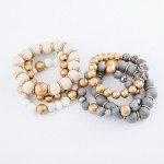Wholesale semi Precious Beaded CCB Stackable Statement Stretch Bracelet Set pcs