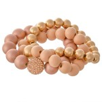 Wholesale ball Beaded CCB Statement Stretch Bracelet Set Rhinestone Bead Detail