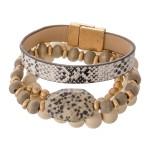 Wholesale wood Beaded Natural Stone Stackable Stretch Bracelet Faux Leather Snak