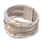 Wholesale metallic Faux Leather Rhinestone Magnetic Bracelet Two Bead Accents Ma